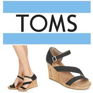 "Toms ""Clarissa"" Black Cork Wedge Espadrille Sandal"